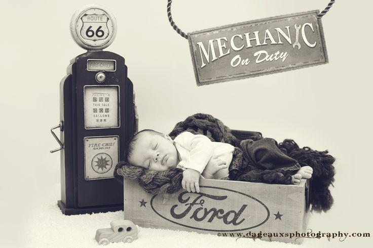 "©www.dageauxsphotography.com / Adorable Little ""Mechanic"" Baby Boy / Infant Photography / Newborn Photography / Newborn Baby Boy / Mechanic Newborn / Ford / Gas Pump"