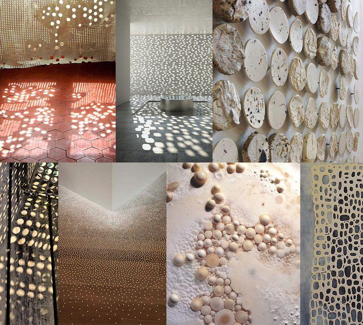 ots op de muur en geperforeerde wanden van gebouwen met schitterende lichteffecten hebben de overhand in onderstaande collages. Met werk van onder andere Marimekko, Nendo, Chris Kabel en Abbink X de Haas.