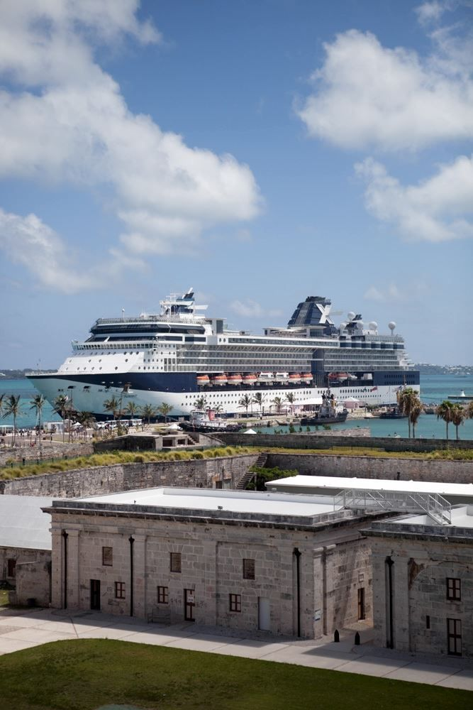 Celebrity cruise to Bermuda. The Celebrity Summit cruise ship at Royal Naval Dockyard on Bermuda.