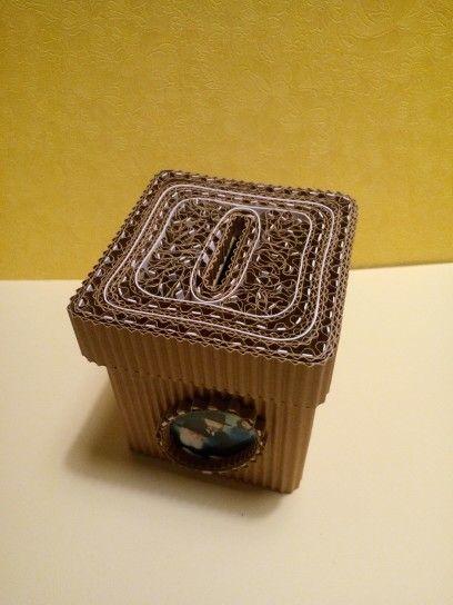 boite de tzedake tirelire en marqueterie de carton mon travail en carton et papier pinterest. Black Bedroom Furniture Sets. Home Design Ideas