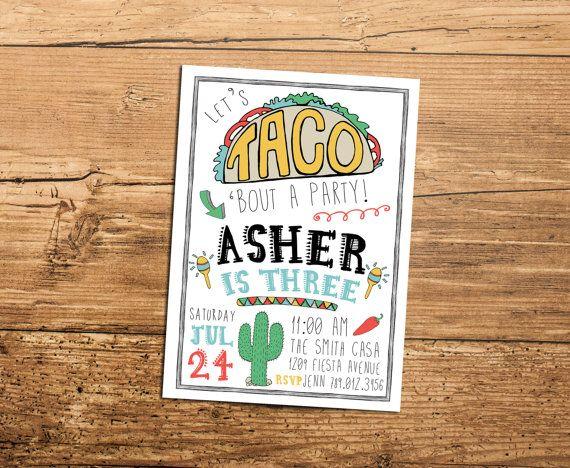 Taco Fiesta Birthday Party Invitation, Lets Taco Bout Birthdays, Taco Tuesday, Taco Truck Invite Printable, Boy Bday, Southwestern  Taco bout a