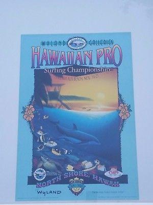 Vtg 90s 1994 WYLAND GALLERIES Hawaiian Pro SURFING CHAMPIONSHIP POSTER PRINT