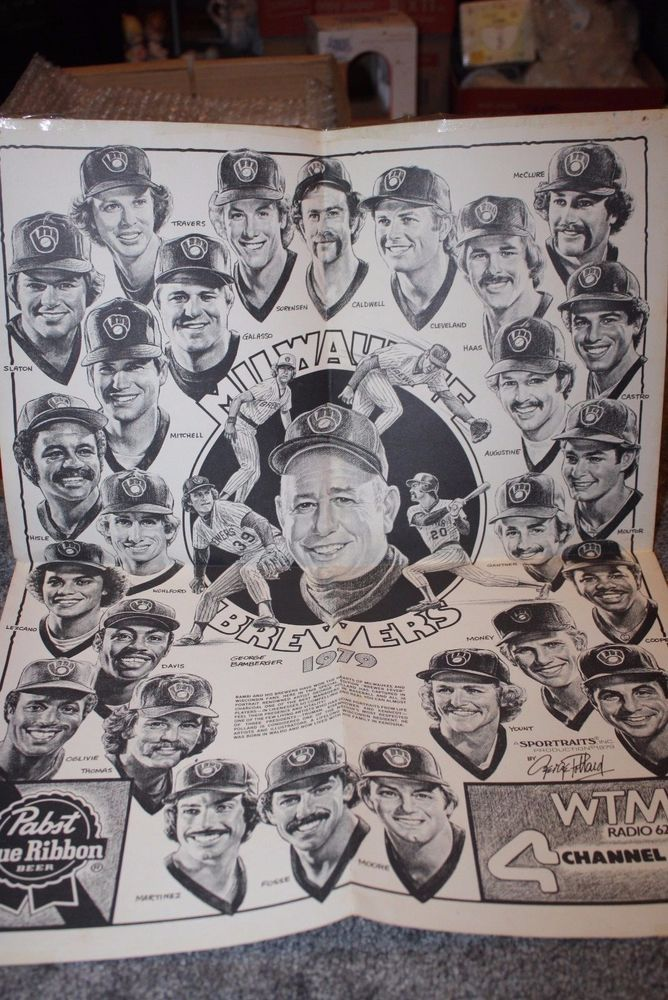 Vintage Milwaukee Brewers 1979 Team Poster Bambi Gantner