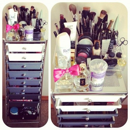 Makeup Storage- I would label the drawers too or try a counter top version with a Rubbermaid brand drawer organizer.