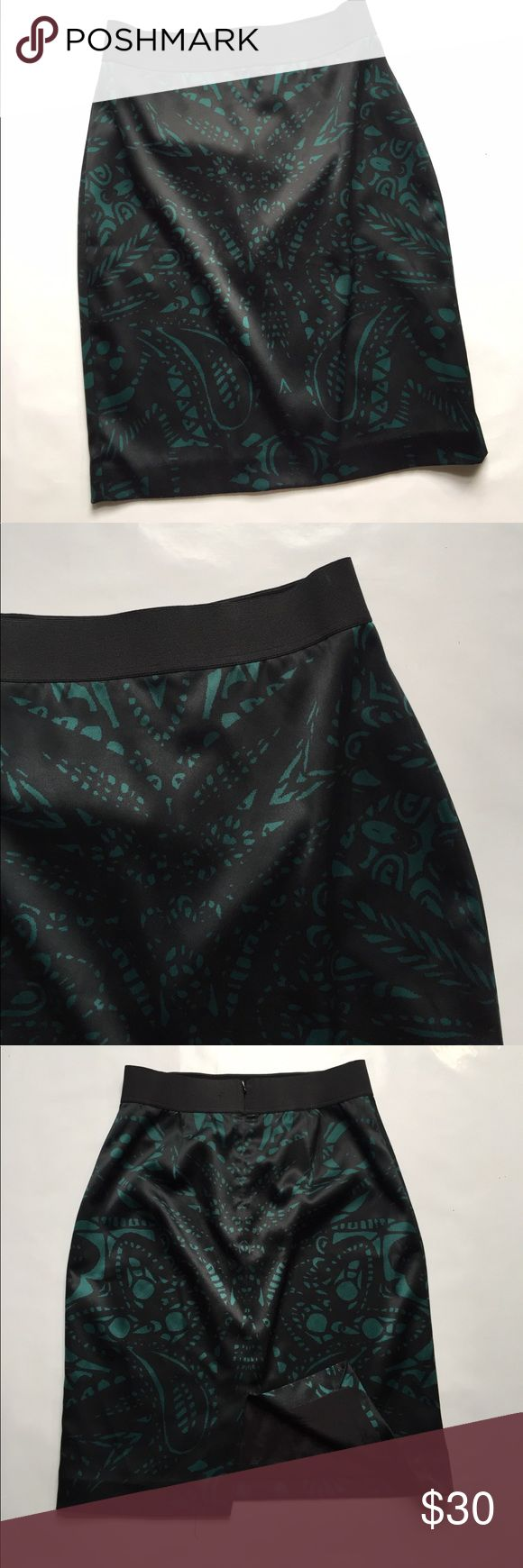 EXPRESS Green and black pencil skirt EXPRESS Green and black pencil skirt // matching top in closet Express Skirts Pencil