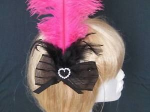 Burlesque HOT Pink AND Black BOW With Rhinestones Cabaret Fascinator ON Comb | eBay
