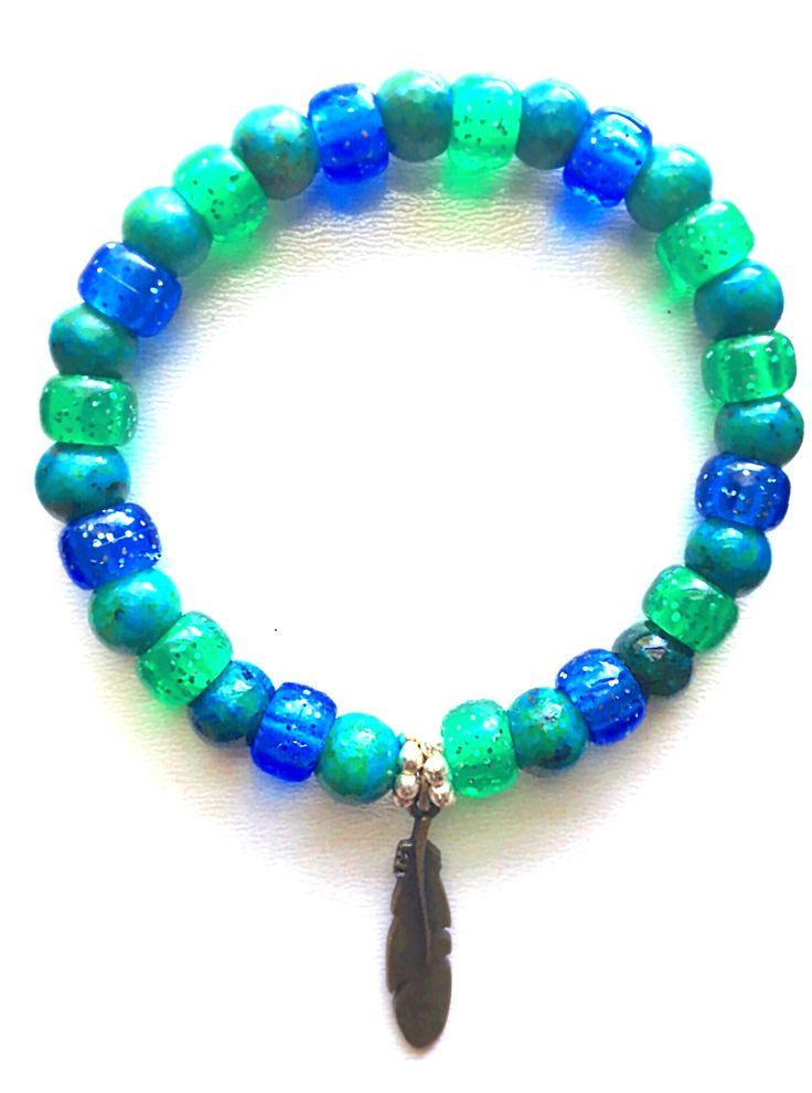 """ Feather"" Bracelet #Pinterest #bracelets #braceletsoftheday #stackable #trendy #sparkle #meaning #style #gift #birthday #love #armcandy #beautiful #feather#77Spark#blue#green#luck#boho#handcrafted#style#gift#cute"