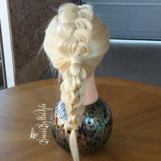 Dutch Mohawk into a Knotted Heart Ponytail