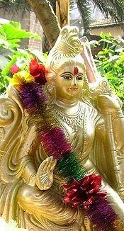 A statue of the Hindu goddess Saraswati - goddess of knowledge, music, art, and science