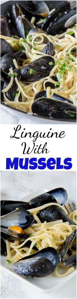 Linguine with Mussels - a super easy mussels recipe that mixes pasta and steamed mussels with shallots, butter and plenty of garlic! Simple, easy, and delicious.   #pasta #seafood #datenight #mussels #garlicbutter