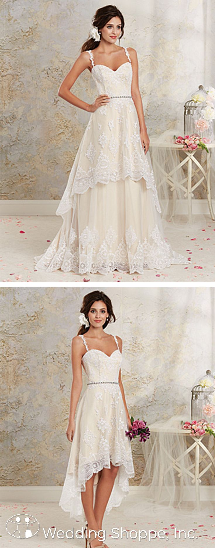 A Delicately Romantic Lace Wedding Dress Featuring Tiered Hi Low Hemline And Detachable