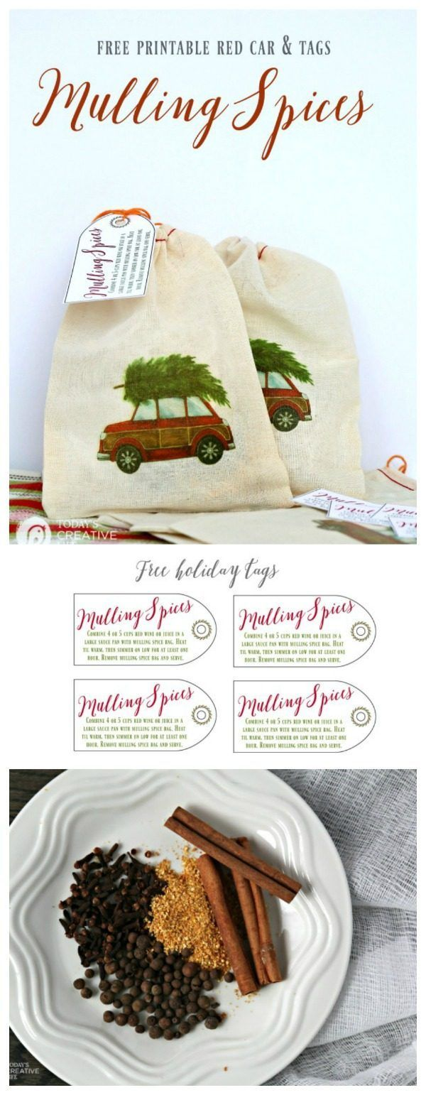 Mulling Spice Recipe | Great for Mulled Wine or Cider. Make your own mulled spice bags for an easy DIY gift idea. Use my red car & Christmas tree to iron on small muslin bags. Free printable Mulling Spices Gift Tag. TodaysCreativeLife.com