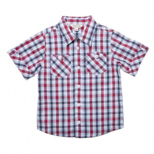 classy red and cobalt cotton check shirt for boys from children's clothing brand, fox