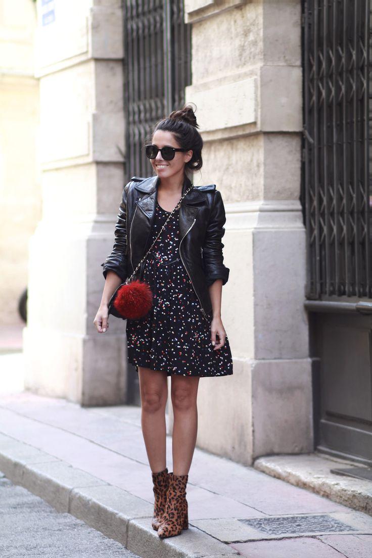 Veste cuir Balenziaga Robe confettis Icode Sac pompon Bottines léopard Topshop Look automne 2016 Blog mode tendances Le Petit Monde de Julie