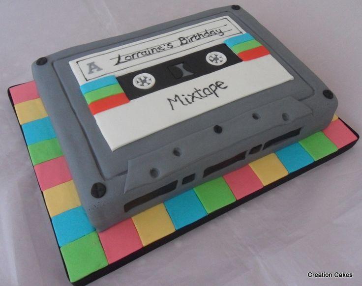 80's inspired cassette tape cake! www.creationcakes.org.uk