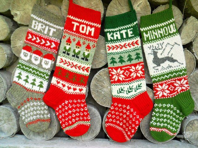 FOR 2015: Hand knit  Christmas Stocking with Deer, Santa or Gnomes Personalized Christmas  decoration Christmas gift by KnittingsWithSense on Etsy https://www.etsy.com/listing/198498678/for-2015-hand-knit-christmas-stocking