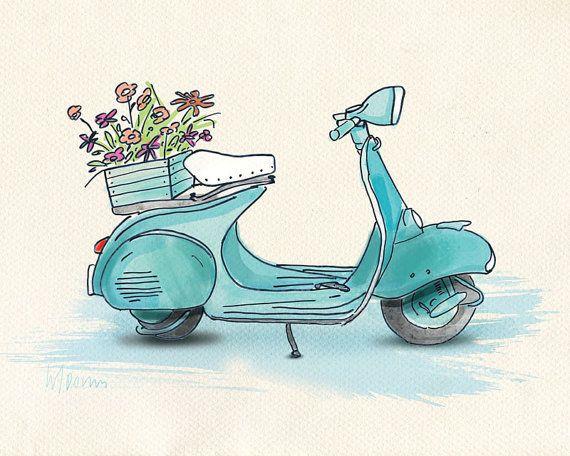 pdf printable kids wall art   old motorbike vespa by skitelloart, $6.00