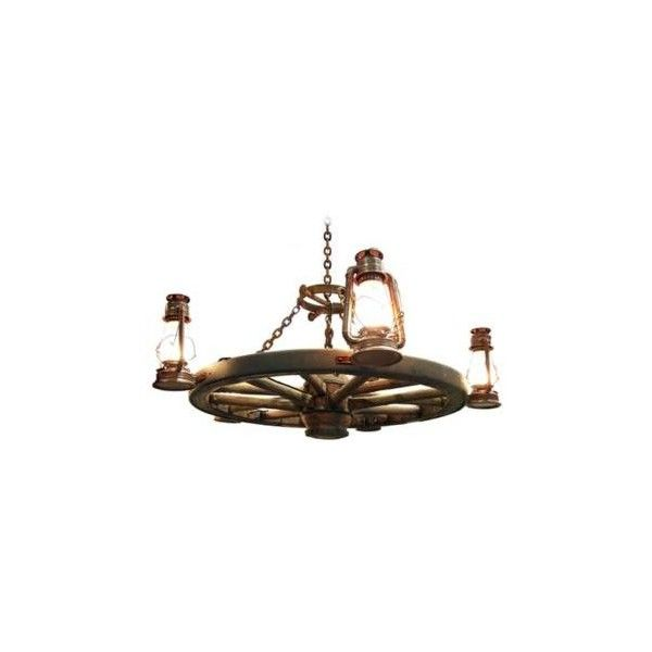 """Universal Lighting and Decor Amberwood Side Lanterns 48"""" Wagon Wheel... ($1,830) ❤ liked on Polyvore featuring home, lighting, ceiling lights, chandeliers, ceiling mounted lights, wagon wheel lights, wall-mounted lamps, universal lighting and decor and handmade lamps"""