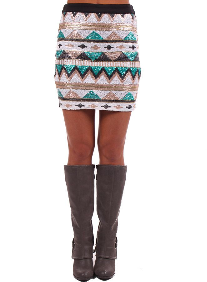 Lime Lush Boutique - Jade and Black Sequin Aztec Print Skirt, $42.99 (http://www.limelush.com/jade-and-black-sequin-aztec-print-skirt/)