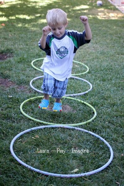 My oldest's PT worked with him and hula hoops. We used them to learn to jump rump, but everything in this post is something that they worked on in PT itself! Gross Motor Activity {Hula Hoop Games} ~ Learn Play Imagine