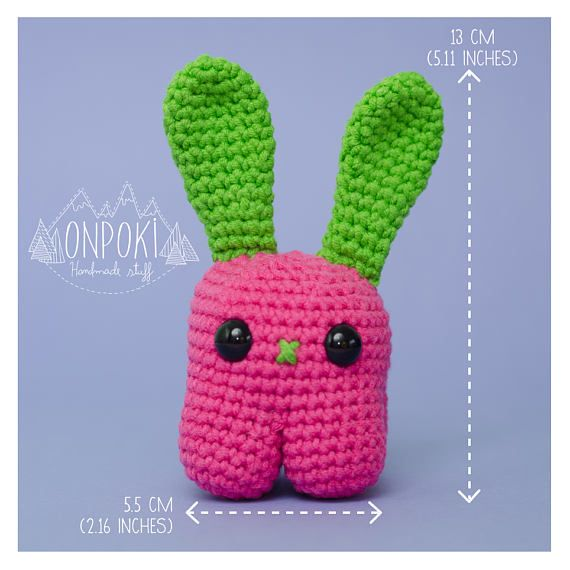 This CANDY BUNNY will be your new best friend...I assure you This adorable bunny is handmade crocheted with 80% Cotton and 20% synthetic yarn (that makes the cotton softer) in a free smoke-pet house and was stuffed with high quality polyester stuffing.  It was made with reinforced stitches and safety eyes that will not come apart...ever! Having in mind the little ones in the family and also to make it a part of your life for a long long time. Machine washable. Comes with easy instructions…