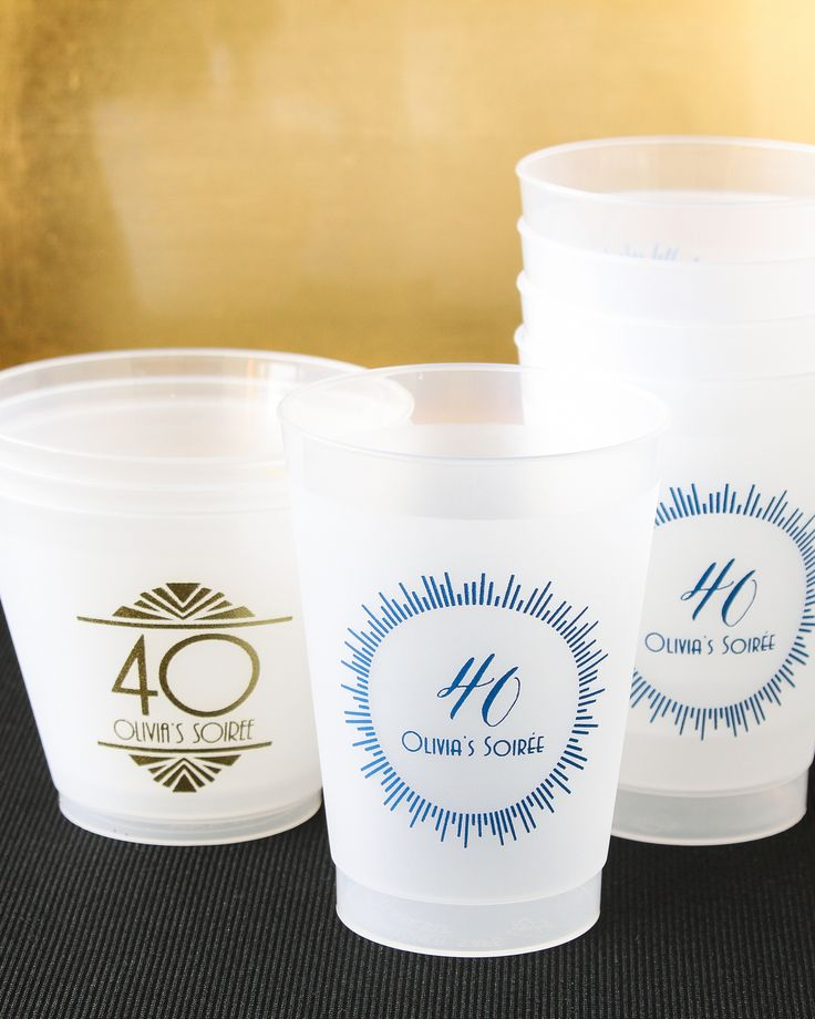 Fill 'em, tip 'em, flip 'em! Shatterproof glasses are ideal for any occasion. That's why these personalized frosted plastic birthday cups are tried-and-true party favorites.