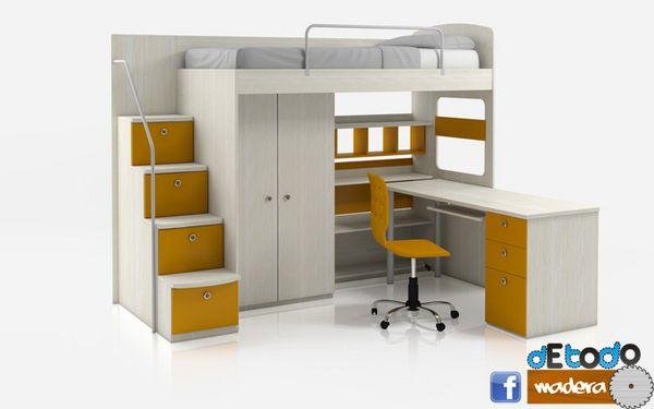 Camarote con escritorio y escalera ba l camarotes for Habitaciones con camas altas