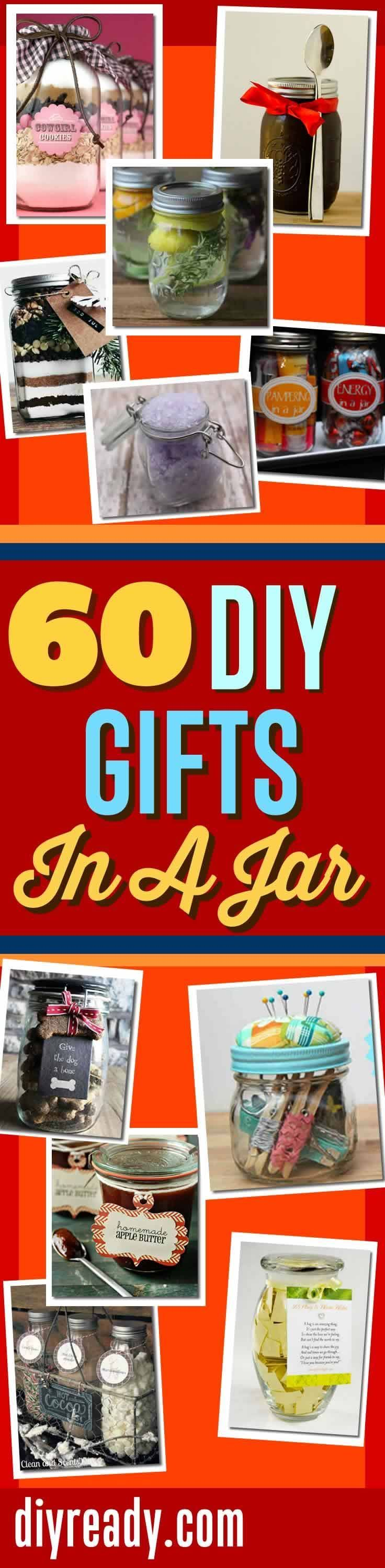 DIY Gifts In A Jar | Mason Jar Gift Ideas, DIY Projects and Homemade Gifts http://diyready.com/60-cute-and-easy-diy-gifts-in-a-jar-christmas-gift-ideas/
