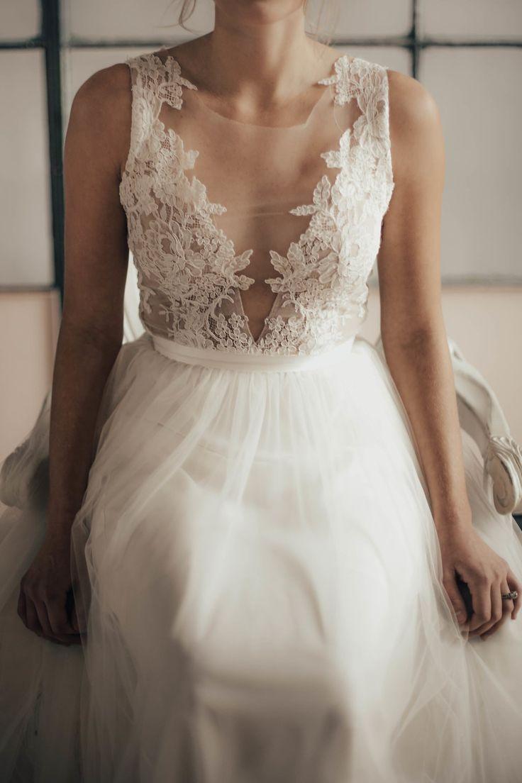 Wedding dress with illusion neckline and scalloped lace - two piece wedding dress || Emma & Grace Bridal Studio, Denver CO || See more at emmaandgracebridal.com