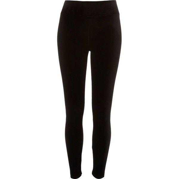 River Island Black velvet high waisted leggings ($40) ❤ liked on Polyvore featuring pants, leggings, black, women, high-waisted leggings, legging pants, velvet trousers, tall pants and high waisted pants