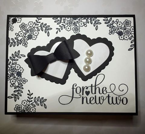 For the New Two Wedding card featuring the Bow Builder Punch from Stampin' Up! Card created by Julie Douglas of Stamp Your Dream Designs. Turlock, CA. Angels Camp, CA