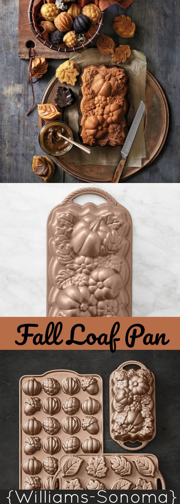 Nordic Ware Fall Loaf Pan and muffin tins. Would be super cute for pumpkin bread and gingerbread! {Williams-Sonoma} #fallloafpan #loafpan #autumn #fallbaking #pumpkinbread #gingerbread