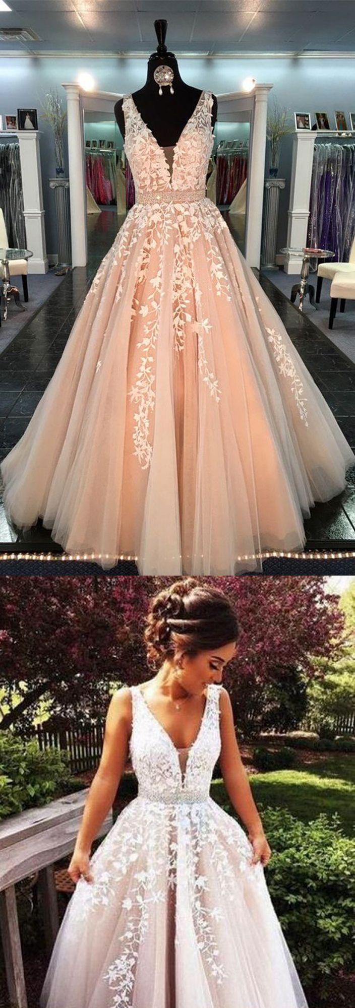 V-Neck Prom Gown,Long Prom Dress,Lace Prom Dresses,Appliques Prom Dress,Sleeveless Formal Dress,Tulle Prom Dresses,Long Prom Dress,New Arrival Prom Gown,Prom Dresses