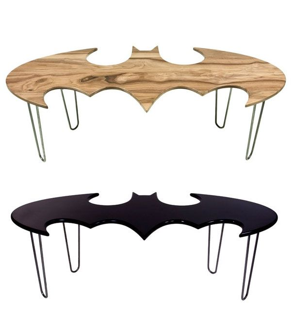 Uniquely crafted wood batman coffee tables by California-based design studio Bohemian Workbench