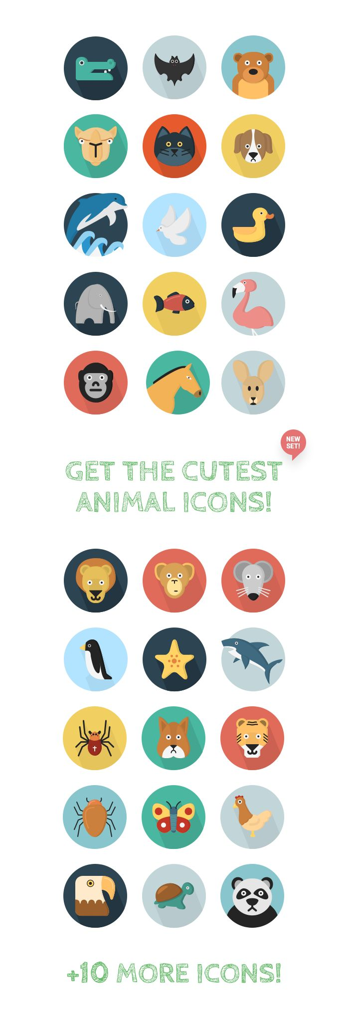 40 Free Flat Animal Icons