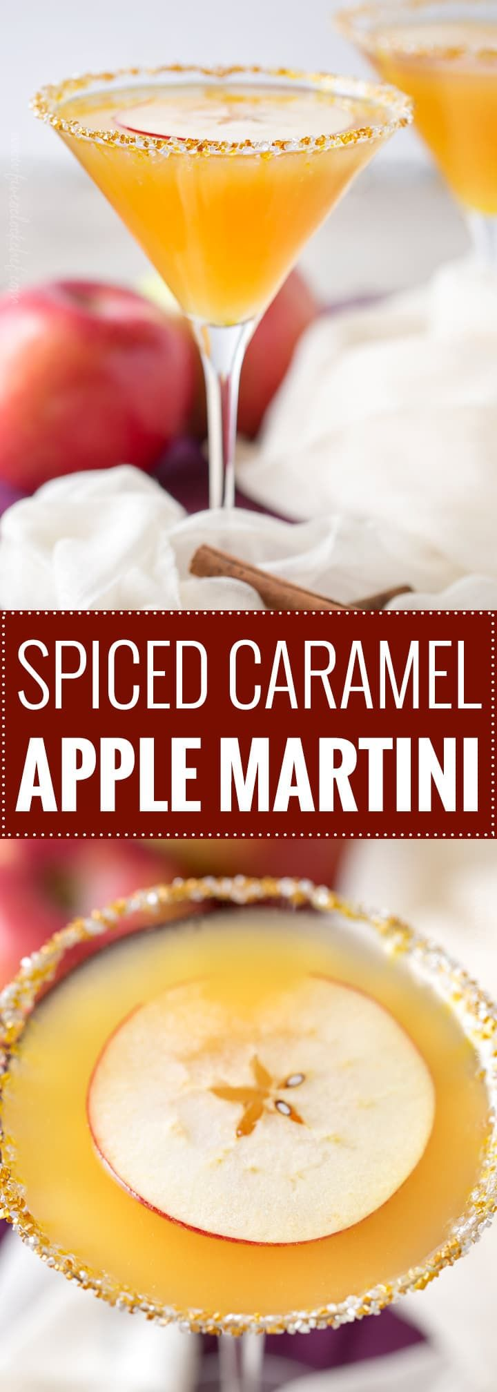 Spiced Caramel Apple Martini | Sweet spiced apple cider mixed with caramel flavored vodka, shaken over ice and served with a slice of sweet apple as a garnish! | https://the5oclockchef.com | #martinirecipe #applemartini #vodka #applecider #falldrink