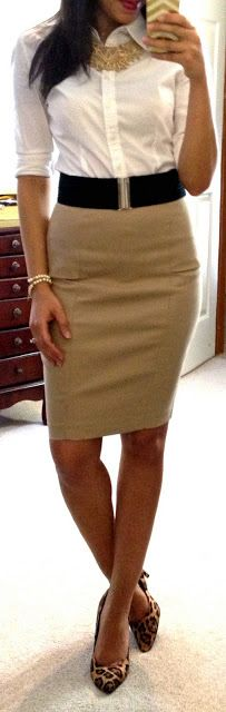 white button-down, black belt, beige pencil skirt, leopard heels, gold necklace