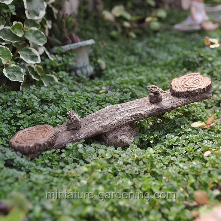 fairies would enjoy this little Teeter Totter in the garden.  http://miniature-gardening.com/accessories/sports/teeter-totter/p-10127/