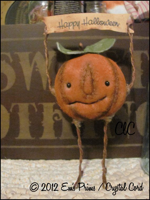 Primitive Halloween Pumpkin face Doll country decor by emsprims, $22.00