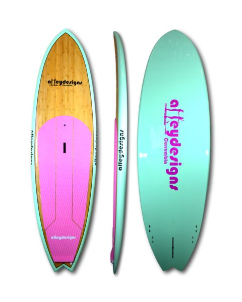 "Stand up paddle board bamboo, mint & pink 9'6"" SUP- Alleydesigns 