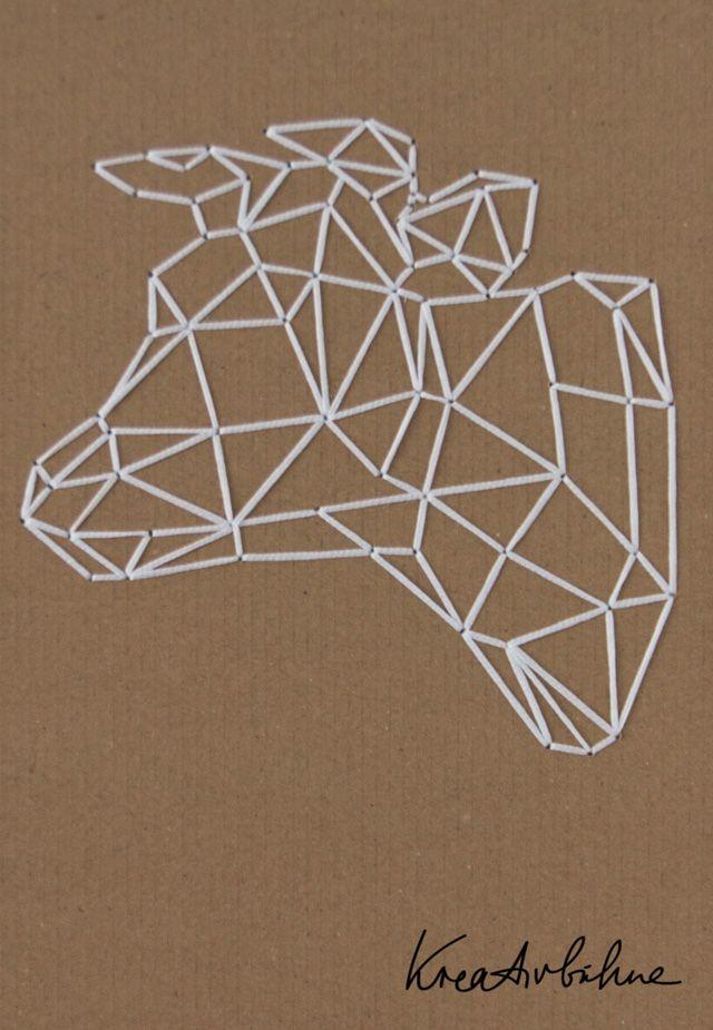 Wanddeko selber machen Kuh sticken