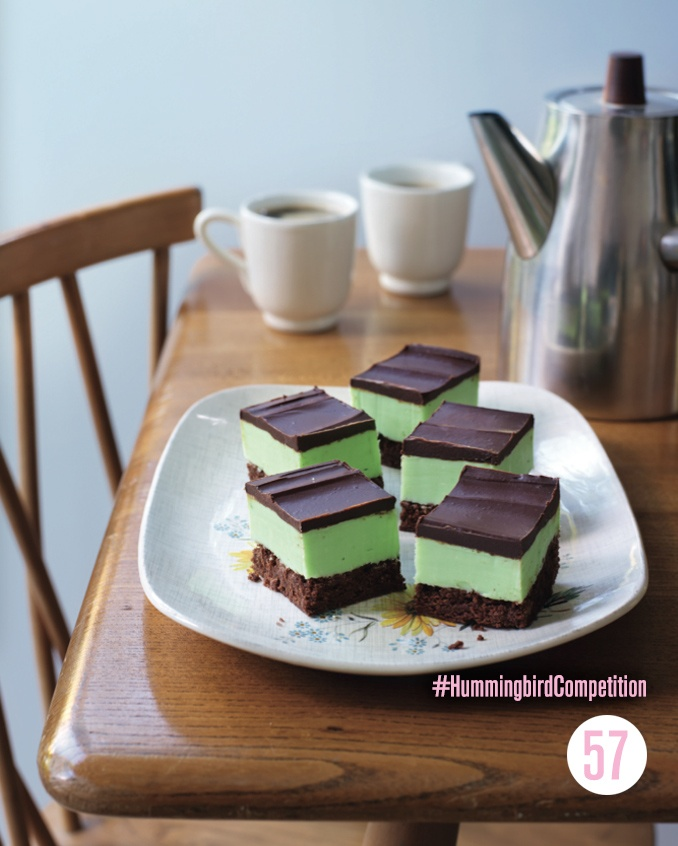 Grasshopper Slices : We love Grasshopper Pie so much that we not only turned it into cupcakes, but also these vibrantly coloured slices! This is the most chocolaty version of the Grasshopper yet. #HummingbirdCompetition