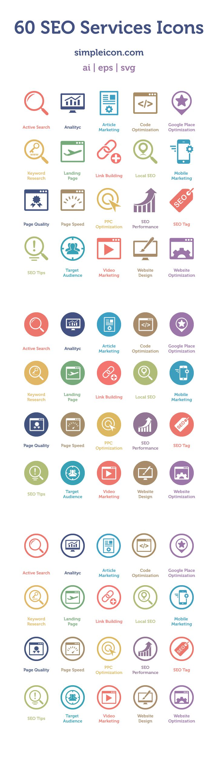 60 Free SEO Services Icons
