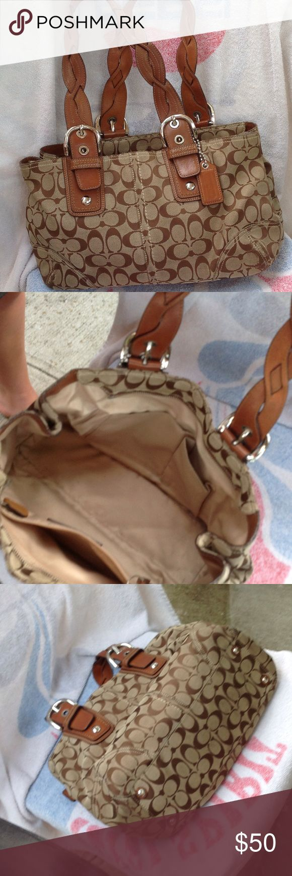 COACH SHOULDER BAG WITH BRAIDED STRAPS Coach Shoulder Bag with braided straps, used, with few scruffs on bottom but overall okay condition. Has one large pocket, light brown 'c' material. Coach Bags Shoulder Bags