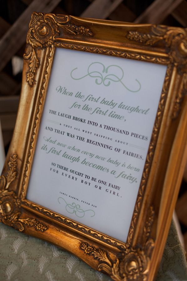 Frame classic fairy tale quotes at baby shower.  Love this Peter Pan quote :).  - www.belovedindeedblog.com