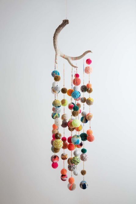 Deer Antler Pom Pom Mobile for a nursery?