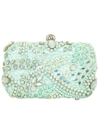 Mint Embellished Clutch - Accessories