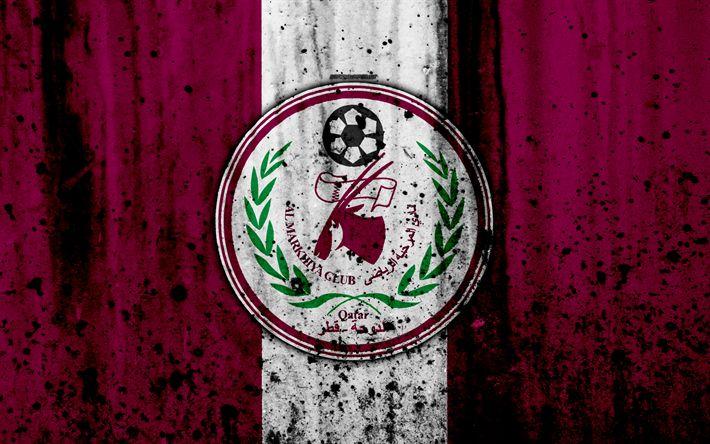 Download wallpapers 4k, FC Al Markhiya, grunge, Qatar Stars League, soccer, art, football club, Qatar, Al Markhiya, Doha, logo, stone texture, Al Markhiya FC