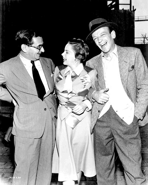 "Irving Berlin, Judy Garland and Fred Astaire   on the set of ""Easter Parade"""