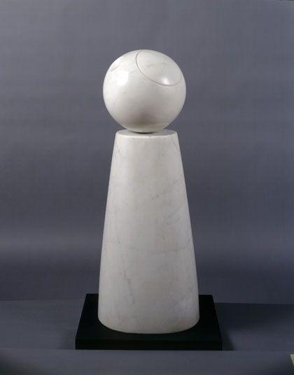 Barbara Hepworth Cone and Sphere, White matble 1973